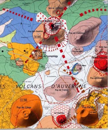 chaîne des puys carte Carte volcanologique de la chaîne des Puys, par Jacques Marie