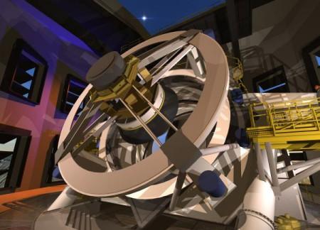 Vue d'artiste du télescope (crédit : LSST collaboration)