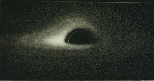 Première simulation d'ordinateur d'un trou noir entouré d'un disque de gaz, que j'ai effectuée en 1979.