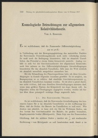 First page of 1917 Einstein's article