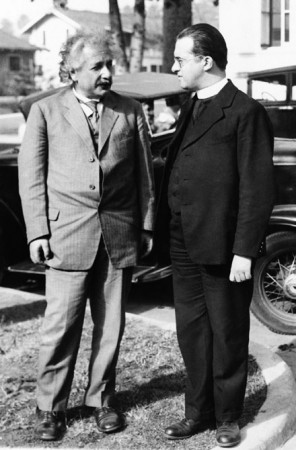 Lemaître and Einstein meeting in Pasadena, 1936
