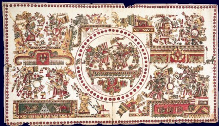An Aztec Codex. This painting illustrates the astronomical and religious beliefs of the Aztecs. Fifty-two red dots, representing the Mayan cycle of 52 years, surround the central panel in which two richly dressed divinities are looking up at a red, yellow and white disc, symbolizing some astronomical phenomenon (probably an eclipse of the sun), Beneath the platform on which they are standing is an inverted cone, which indicates that some cataclysmic event is taking place. In the corners of the picture are four more pairs of gods. Other symbols indicate astronomical and calendrical information such as the divine 260-day cycle. The original painting is badly worn and damaged; this copy was made in the 18th century by Léon y Gama. Codex of the followers of Tonatiuh, 18th century manuscript copy, Paris, BNF.