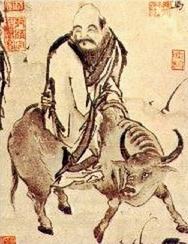 Traditional representation of Laozi on his buffalo travelling to West