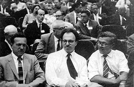 Thomas Gold, Herman Bondi and Fred Hoyle, the fathers of the model of continuous creation, at a meeting