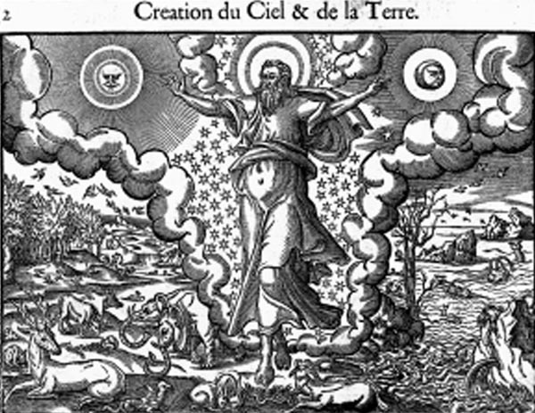 "The Creation of Heaven and Earth. The caption to this bible illustration reads: ""The Creation of Heaven and Earth, of Trees, Plants, Stars and all the Animals"". The engraving therefore represents the first five days of the Creation. God the Father is seen setting the sun and moon among the clouds and the stars; below are the creatures of the land (left) and the sea (right). Engraving by Jean Cousin, in Figures de la Bible, Paris, 1614."