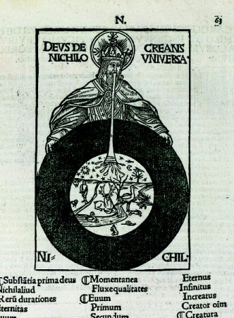"Creation ExNihilo by Divine Exhalation. In his little books on science and morals, Charles Bouelles (1470-c. 1553) outlined an ""illuminist"" philosophy which invoked the metaphysical and mystical doctrines of Nicolas of Cusa and the Florentine Neo-Platonists. This engraving from his Liber de Nichilo (Book of the Void) shows God in the act of creating a finite and temporal universe out of the void (""Deus de nichilo creans universa""). Above the realm of chaos (""ni-chil"") He has formed the sphere relating to the sun and moon, the celestial bodies which mark the passage of time, and through a long pipe He is breathing life into a multitude of animals, birds and fish. Charles de Bouelles, Que Hoc Volumine (Caroli Bovili) Continentur: Liber de Intellectu; Liber de Sensu; Liber de Nichilo, Amiens, 1510."