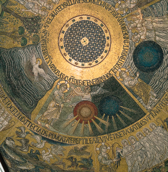 The Creation of Light. The ceiling of St Mark's cathedral in Venice is adorned with a series of beautiful mosaics illustrating the story of Genesis. The pictures relating to the Creation, in the first cupola, were probably completed around 1220 and are modelled on the Cotton bible, a 5th or 6th century illuminated copy of an -ancient Greek manuscript.
