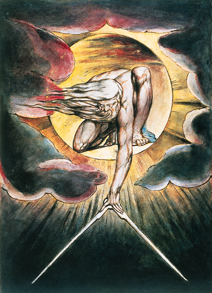 God as an Architect. Milton's poem inspired numerous artists and composers, including William Blake (1757-1827), Gustave Doré (1832-83) and Josef Haydn (1732-1809), who used it as the basis of his oratorio The Creation. William Blake was fascinated by cosmological myths and prophecies and wrote a number of books on the history of the universe (including The First Book of Urizen and The Marriage of Heaven and Hell). He also invented a technique called illuminated printing, whereby the image is first etched in reverse on a brass plate and the artist then overpaints the prints in water-colour so that each one is different. This etching betrays the influence of Michelangelo; the golden compass with which the Creator is shaping the world is an explicit reference to Milton's poem. William Blake, God as an Architect, illustration from The Ancient of Days, 1794.