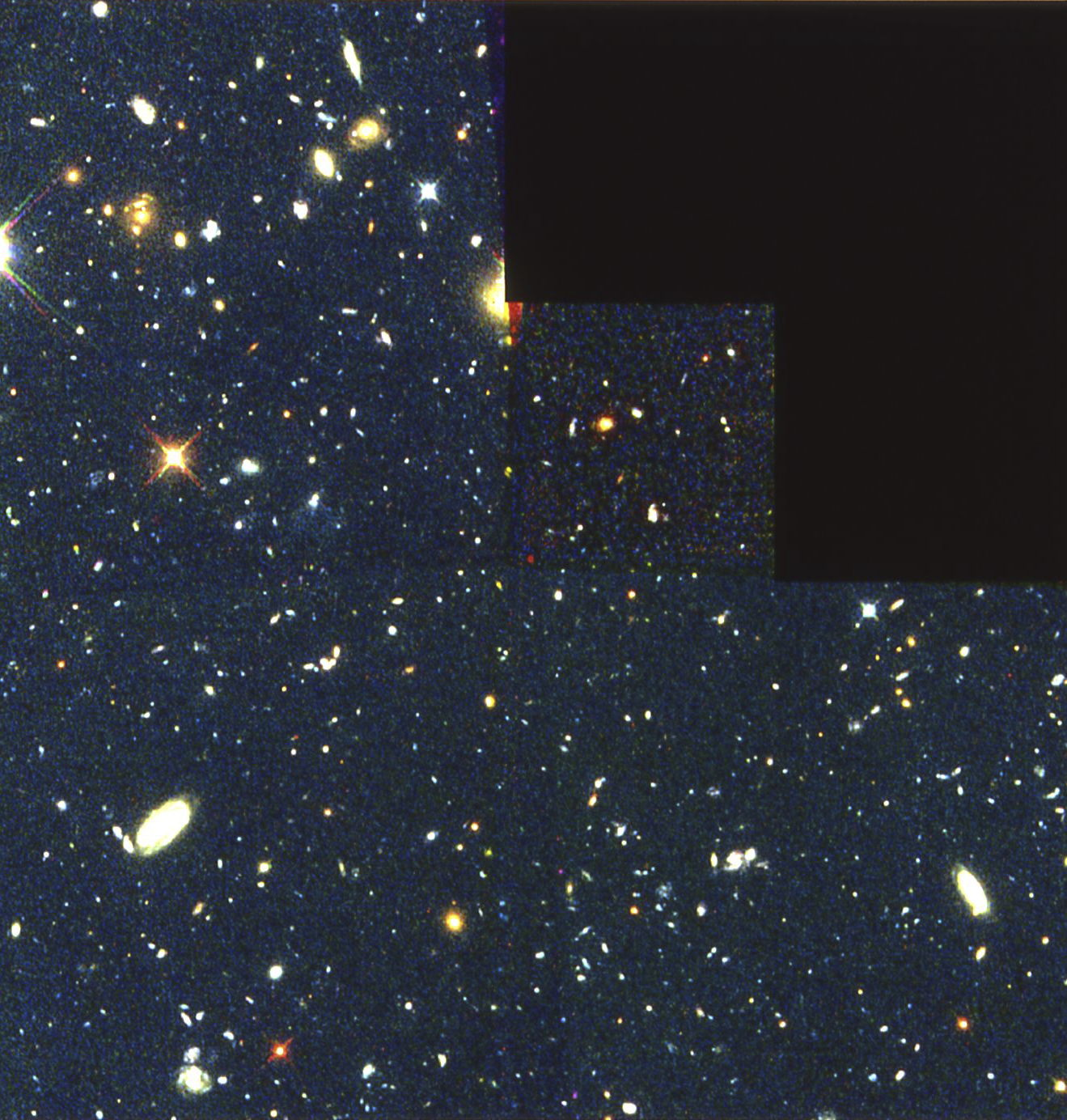 "The Birth of Galaxies. This montage of pictures taken by the Hubble Space Telescope in 1996 shows what could be the ""building blocks"" of galaxies in the infant universe: a group of 18 giant star clusters, each approximately 2,000 light-years in diameter, close enough together (about two million light-years) to fuse into a single structure the size of a galaxy. Approximately 11 billion light-years away from us, they belong to the period when the first galaxies are believed to have formed. This image therefore supports the theory that galaxies were formed by the amalgamation of star clusters rather than by the fragmentation of some vast proto-galactic cloud."
