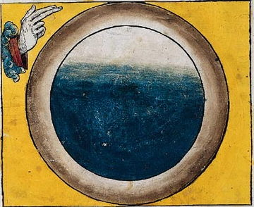 The Third Day. The hand of God gathers the waters under the firmament into one place so that the dry land can appear, the world thenceforth being divided into land and sea. Since earth, water and the other elements had previously been part of a chaotic concoction, the number of spheres shown in the first three illustrations varies (two, five, four) as the artist strains his imagination to depict the invisible.