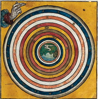 The Fourth Day. On the fourth day, time was created and its passage began to be marked by the motion of the celestial bodies across the sky. By now the earth had been divided into recognizable regions. This illustration shows the familiar geocentric universe of Ptolemy.