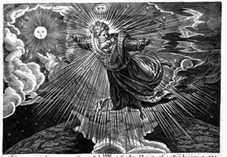 God the Father Dividing the Light from the Darkness. In this 16th century engraving, which was clearly influenced by the work of Michelangelo, the Creator, in the form of the first Person of the Holy Trinity, God the Father, is dividing the light (represented by the sun) from the darkness (represented by the moon). Engraving by Raphael Sadeler, in Thesaurus Historia..., 1585
