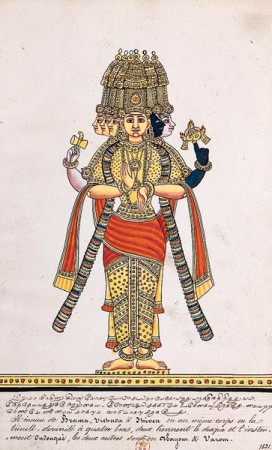 The Hindu Triad. One of the central images of Indian mythology is the Hindu Triad (Trimurti) of Brahma, the creator, Vishnu, the maintainer, and Siva, the destroyer. In this picture they are shown combined into a single body with four arms. Album of paintings of Indian gods and rulers, 1831. Paintings with captions in Tamil and French. BNF, Manuscripts, Indian 744.