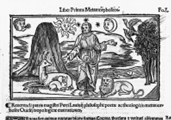 The Creation in a Renaissance Edition of Ovid's Metamorphoses. Ovide moralisé (Ovid Moralised) is a French text written in the late Middle Ages which regards Ovid's Metamorphoses as having anticipated the scriptures. The early humanists inherited this view and, throughout the 16th century, the Metamorphoses were treated as a manual of morality and wisdom and subjected to numerous glosses and commentaries. This edition, published in Lyons in 1519, includes commentaries by Raphael Regius, an Italian teacher of grammar and rhetoric, and Petrus Lavinius, a Dominican monk who was part of the humanist circle in Lyon. The engraving illustrating the Creation was inspired by the Italian woodcuts in the first edition of Regius' commentary, which was published in Venice in 1493. The fact that the artist drew the Creator as Christ rather than Jupiter shows how Ovid's poem had been adapted to match Christian legend. Ovid, P. Ovidii Nasonis Metamorphoseos Libri Moralizati, Cum Pulcherrimis Fabularum Principalium Figuris, Lyons, Jacques Mareschal, 1519.
