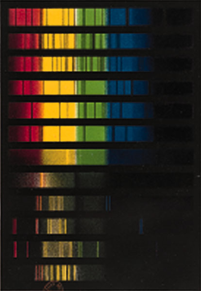 "Spectra of Stars, Nebulae and Comets. This collection of spectra, which was published in the late 19th century as part of a German popular astronomy book, shows how spectroscopy defines the varying nature of stars, nebulae and comets. The spectra of stars (the sun, Sirius, Pollux, a Herculis and 78 Schjellerup) are quite different from those of gaseous nebulae (""Nebelfleck""), which are different again from those of comets (exemplified here by Encke's comet). Joseph Johann Edler Littrow, Wunder des Himmels oder gemeinfassliche Darstellung des Weltsystemes, Berlin, G. Hempel, 1886."