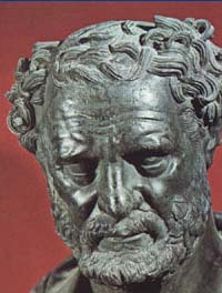 A portrait of Democritus (460-370 BC), the founder of atomistic theory.