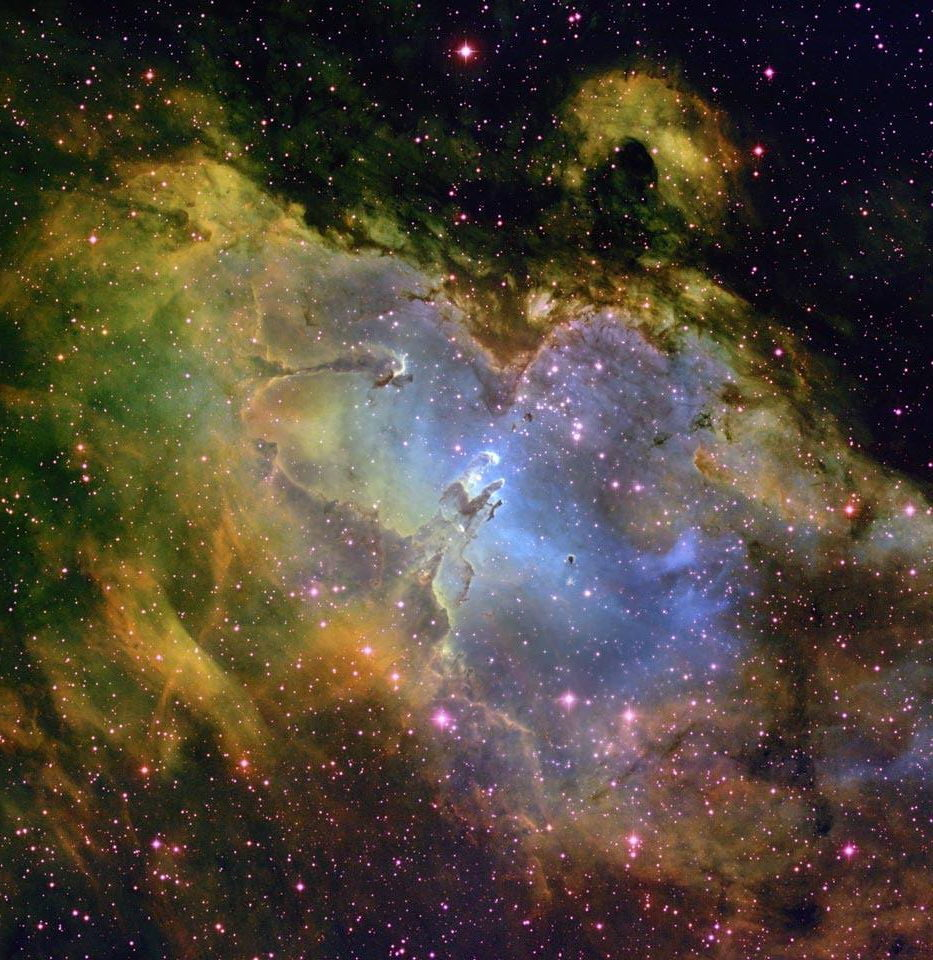 "The ""Pillars of Creation"", 1. The M16 nebula in Serpens Cauda (Tail of the Snake) is a vast agglomeration of gas and dust about 7,000 light-years from earth, shown here by a photograph taken through the Mount Palomar telescope. © P. Scowen (Palomar Observatory)"