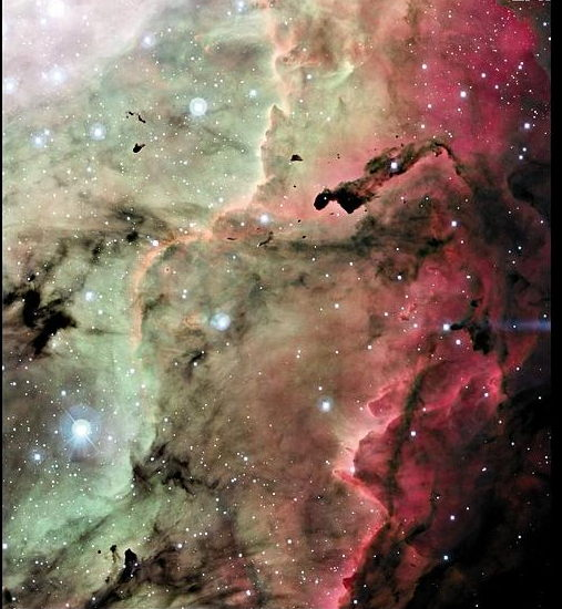 Birthplace of the Stars, 1. Five thousand light-years from earth, in the constellation of Sagittarius, the Lagoon Nebula contains a variety of substructures including dark globules, Shockwaves surrounding newly formed stars, rings and jets of gas. CFHT.