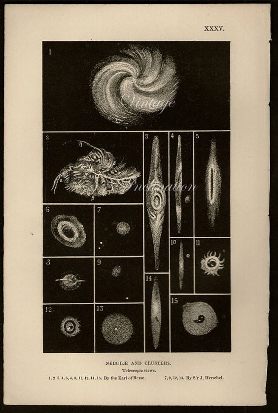 "Star Clusters and Nebulae. This page from ""Telescopic views of Nebulae and Clusters by the Earl of Rosse and Sir J. Herschel"" (1875) includes a variety of drawings of nebulosities by different observers. There are star clusters and gaseous nebulae (now known to belong to our own galaxy) as well as other galaxies. Observational techniques of the time were unable to distinguish between these very different types of objects."