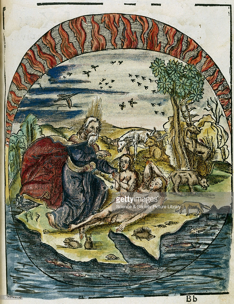 The Creation of Adam and Eve First printed in 1503, Gregor Reisch's Margarita Philosophica is the earliest known popular science book. In it Reisch summarizes the scientific knowledge of the time. This illustration, which appears at the beginning of book IX, De Origine, upholds the traditional view of man's pre-eminence in the order of the Creation, a view which prevailed throughout the Renaissance. Despite the change in perspective brought about by the theory of evolution, the image of Adam and Eve would remain an icon of Western culture. Gregor Reisch, Margarita Philosophica, Freiburg, 1512 Juvisy-sur-Orge, Observatory, Camille Flammarion Archive