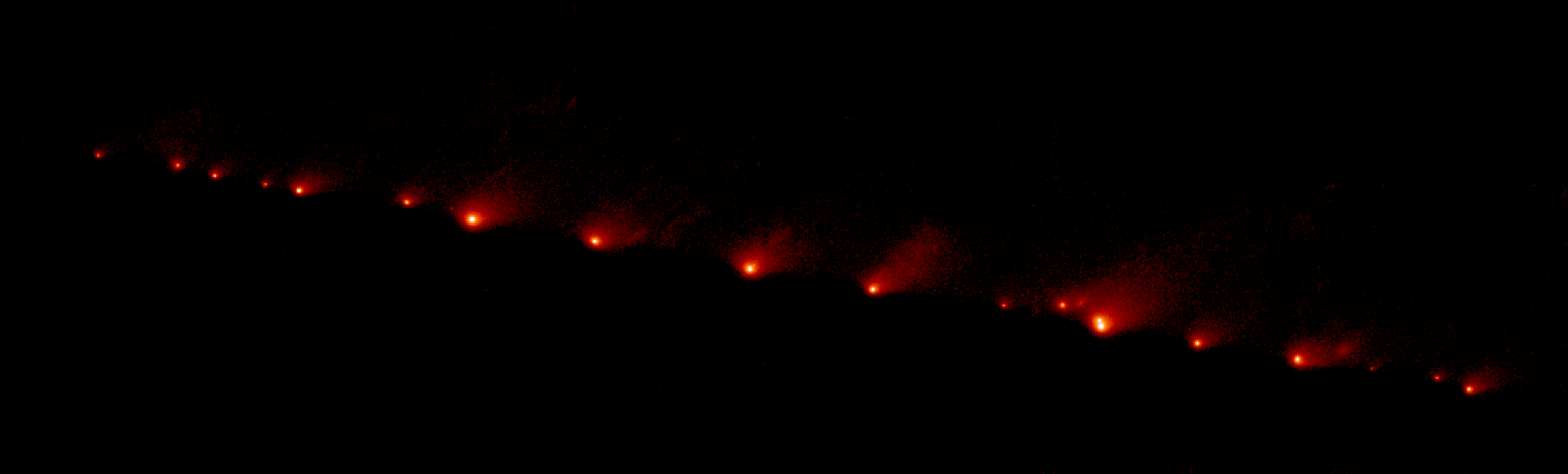 "Collisions in Space, 1. In July 1994 the comet known as Shoemaker-Levy 9 collided with Jupiter, an event which was recorded at the Hawaii observatory using an infrared sensor and a telescope equipped with ""adaptative optics"" (to neutralize the effect of the earth's atmosphere). First the comet's nucleus was broken into 21 pieces by the tidal forces generated by the giant planet. Then the fragments plunged into Jupiter's atmosphere, causing huge explosions -some of them equivalent to the detonation of 100 million megatons of TNT: observers reported great mushroom clouds appearing about ten seconds after each impact (fig. 275). Scientists believe that the earth suffered similar collisions four billion years ago and, since comets contain large amounts of water, carbon and organic molecules, some researchers reckon that they could have brought the organic matter from which all terrestrial life forms have evolved. Comet Shoemaker-Levy 9 STScI / ESA"