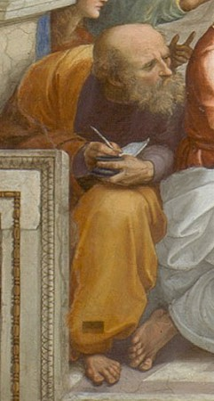 A possible representation of Anaximander learning Pythagoras on his left, detail of Raphael's famous painting The School of Athens.