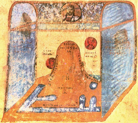 A sketch of VIth centrury Cosmas' pattern of the universe (Codex Sinaiticus graecus 1186, 11th century, St. Katherine's monastery, Sinai).