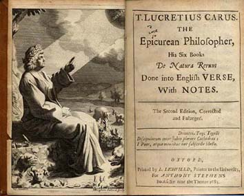 An English edition of Lucretius' De Rerum Natura, published in Oxford.