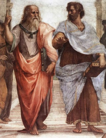 The famous central part of Raphael's School of Athens, representing Plato and his former pupil Aristotle.