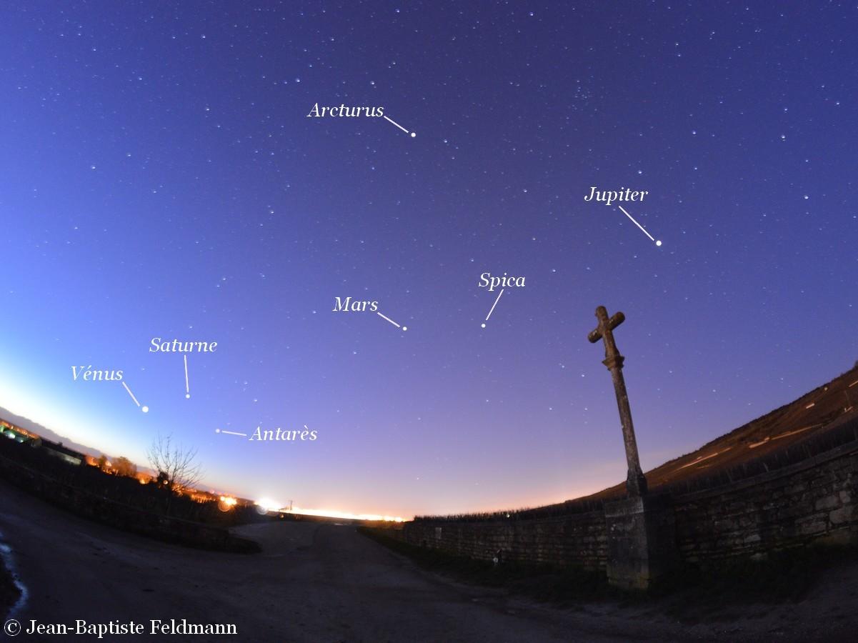 Planètes Et Brillantes étoiles Parsèment Le Ciel Du Matin