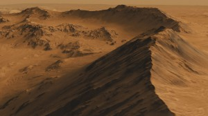 Le cratère Mojave reconstitué en 3D par recoupement d'images du satellite Mars Reconnaissance Orbiter (NASA)
