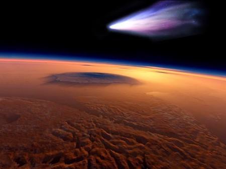 Mars-Comet over Olympus