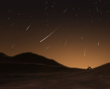Vue d'artiste de la pluie d'étoiles filantes sur Mars lors du passage de la comète Siding Spring (NASA/JPL-Caltech)