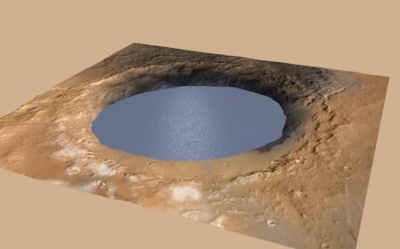 Vue d'artiste du lac qu'a abrité le cratère d'impact Gale. Les deltas sur son rivage sont également représentés (NASA).