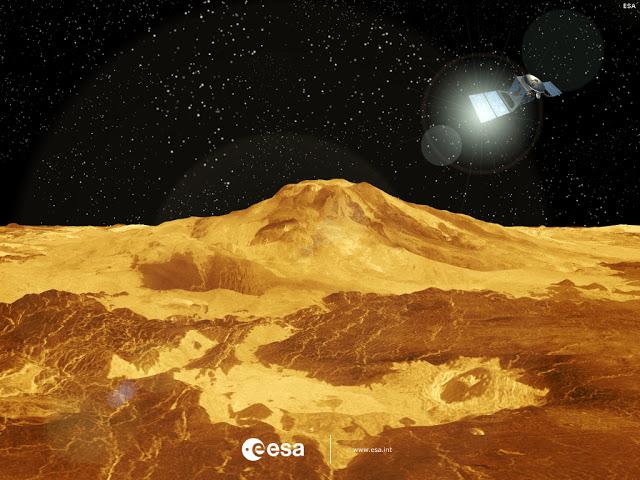 Le volcan Maat Mons, survolé par la sonde Venus Express (ESA/vue d'artiste)