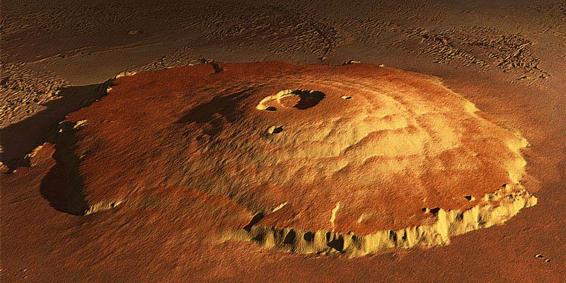 Olympus Mons est le volcan martien soupçonné d'avoir abrité les éruptions les plus récentes sur la planète rouge. (NASA/JPL)