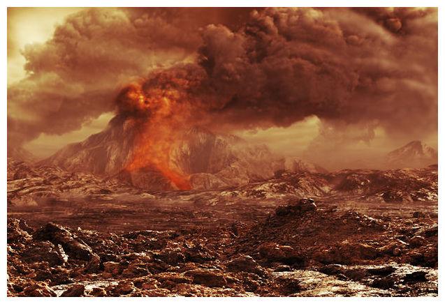 éruption sur Vénus (vue d'artiste)