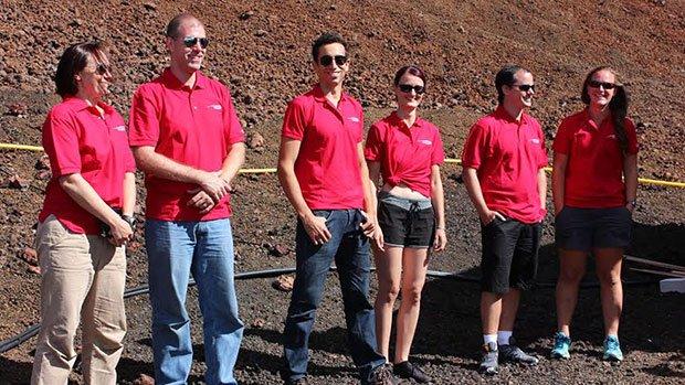 L'équipage de Hi-Seas IV, avec au centre le biologiste français Cyprien Verseux (hawaii.edu)