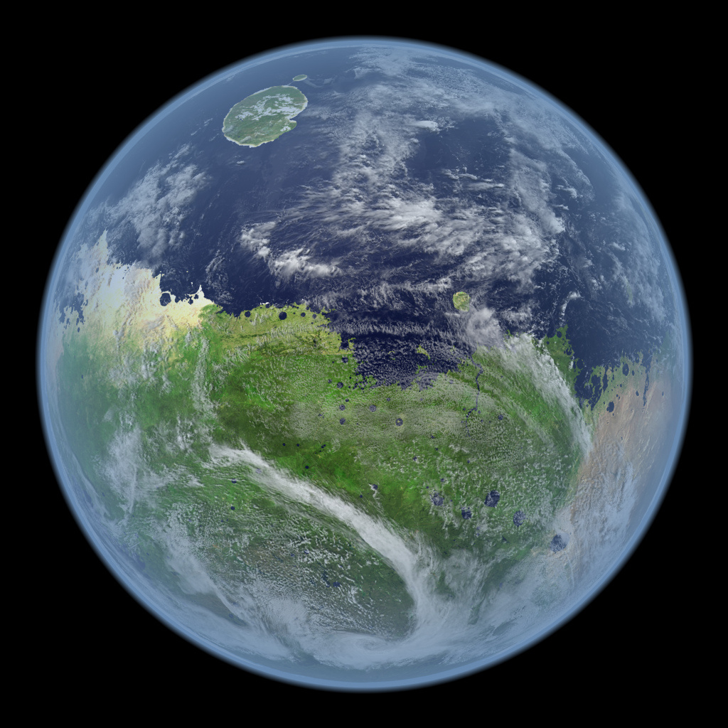"""Une fois """"terraformé"""", Mars sera une planète verte et bleue (image d'artiste de Kevin Gill)"""