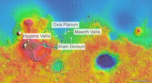 Les quatre sites retenus pour ExoMars, avec comme leader actuel Oxia Planum