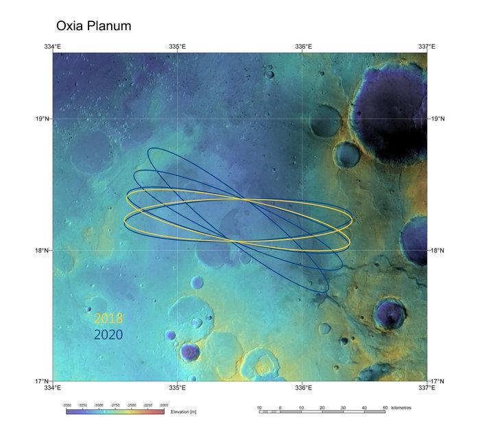 Les ellipses d'atterrissage de la sonde Exomars dans Oxia Planum