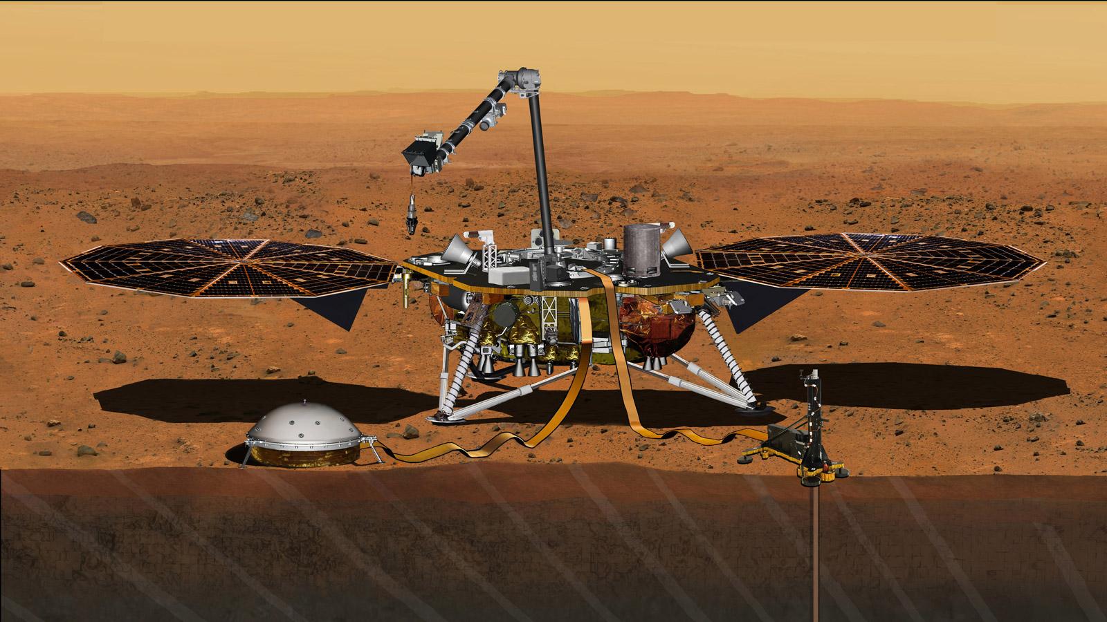 Vue d'artiste de la sonde Insight sur Mars avec son seismomètre déployé sous coupole