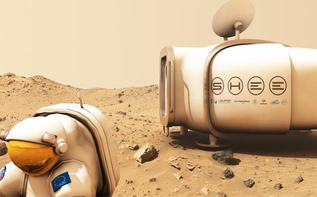 Le module de simulation représenté sur Mars (crédit : Liquifer)