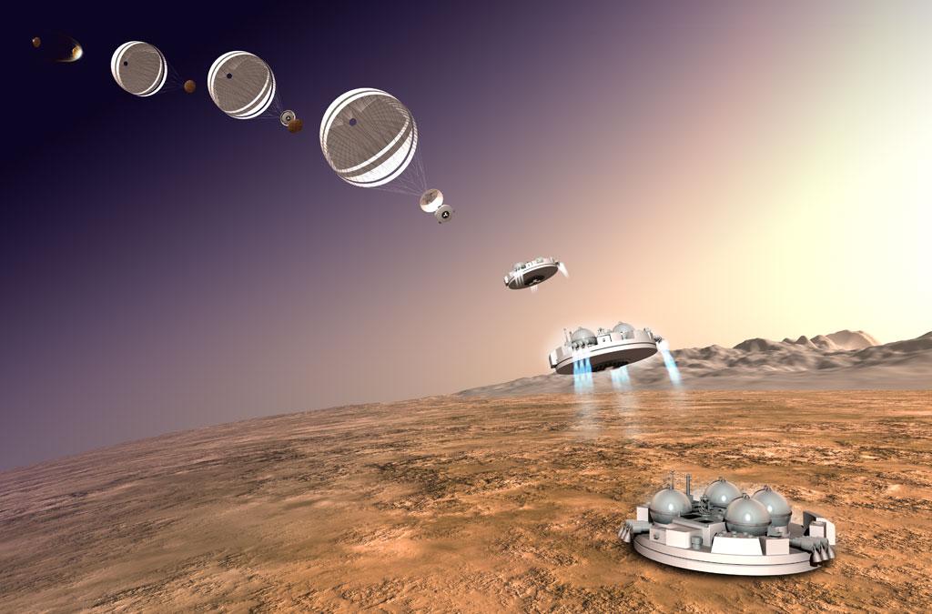 """Séquence d'atterrissage du module technique """"de démonstration"""" Schiaparelli"""
