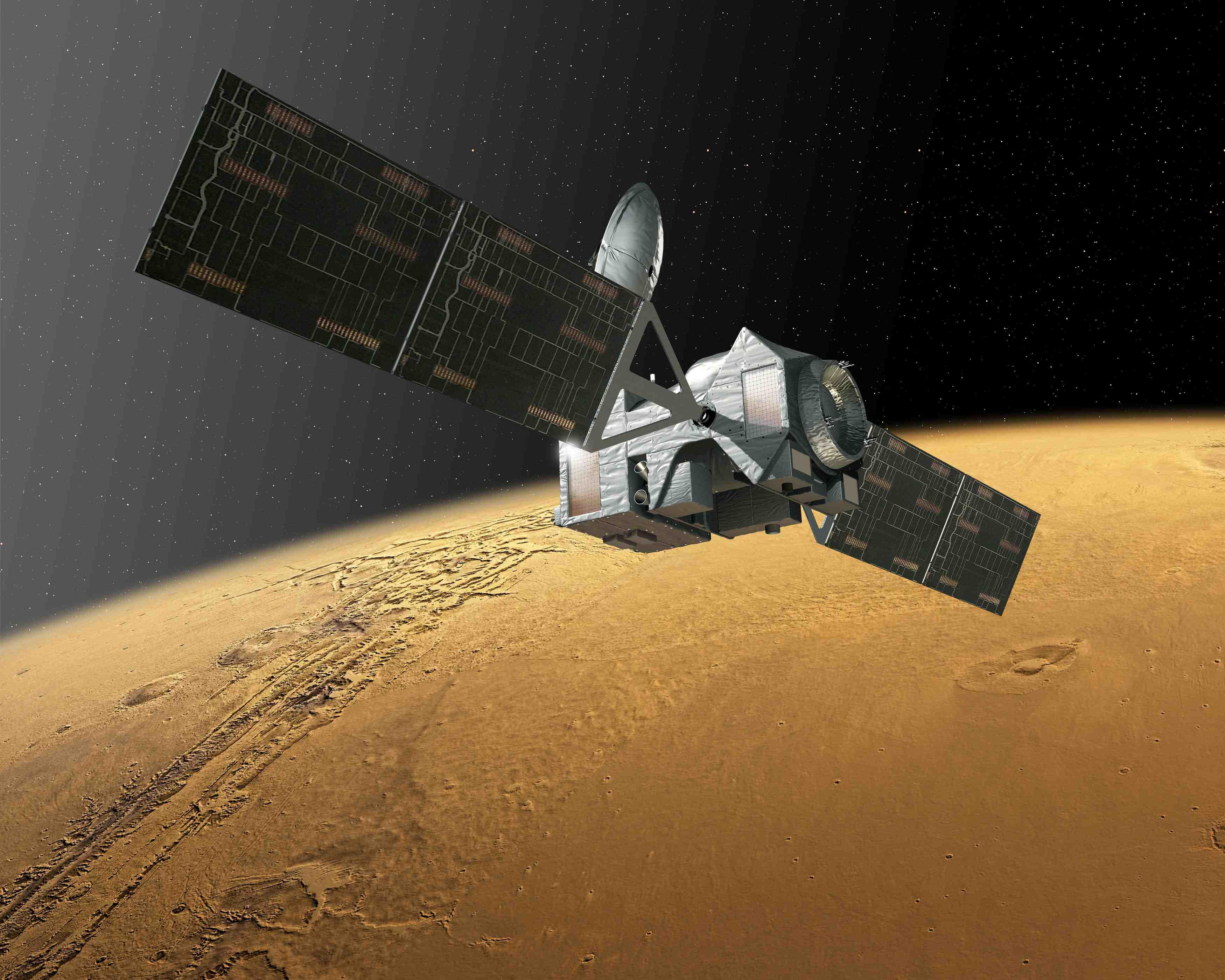 Vue d'artiste de la sonde TGO en poste au-dessus de la planète rouge