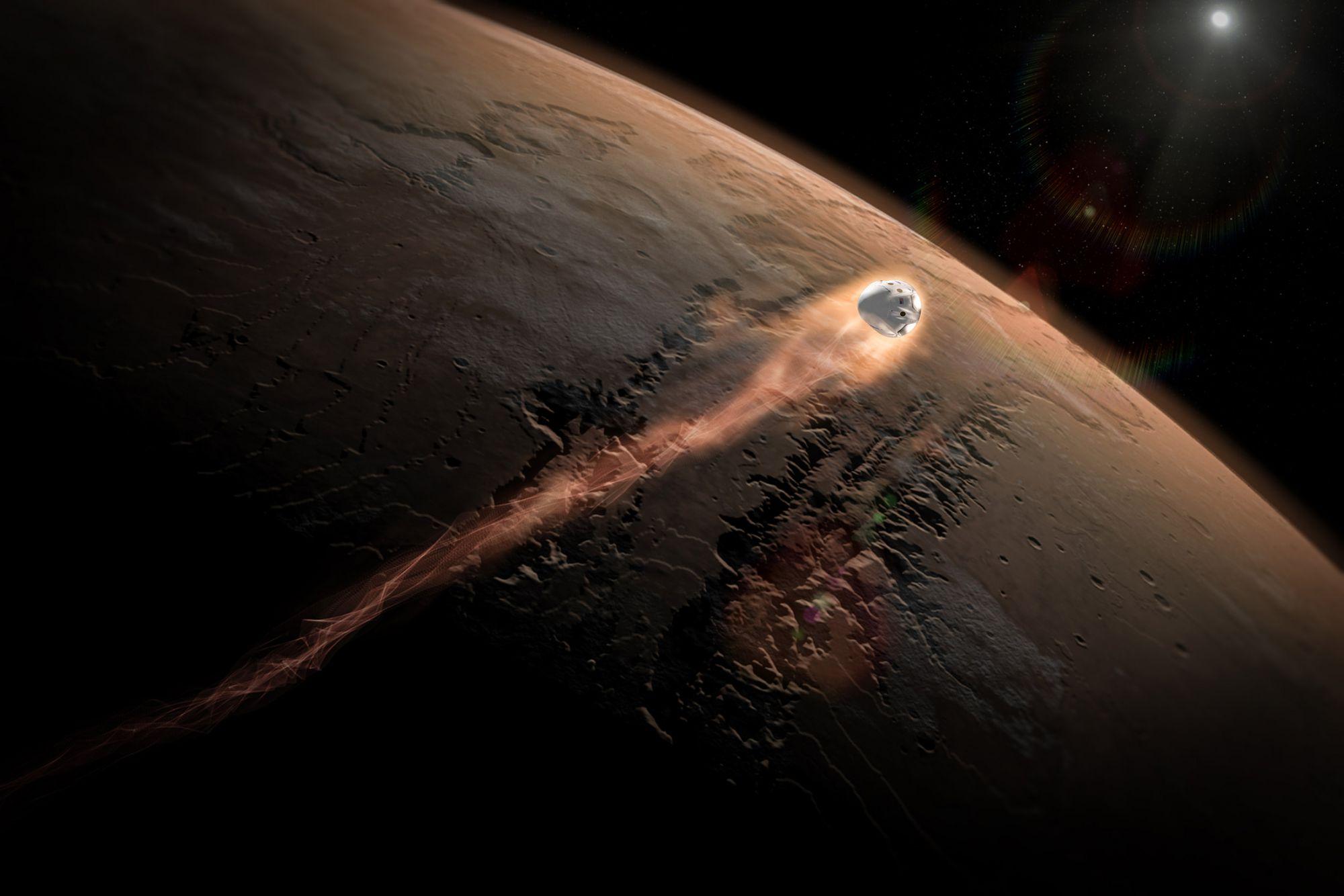 """Vue d'artiste du vaisseau """"Red Dragon"""" de Space-X rentrant dans l'atmosphère de Mars"""