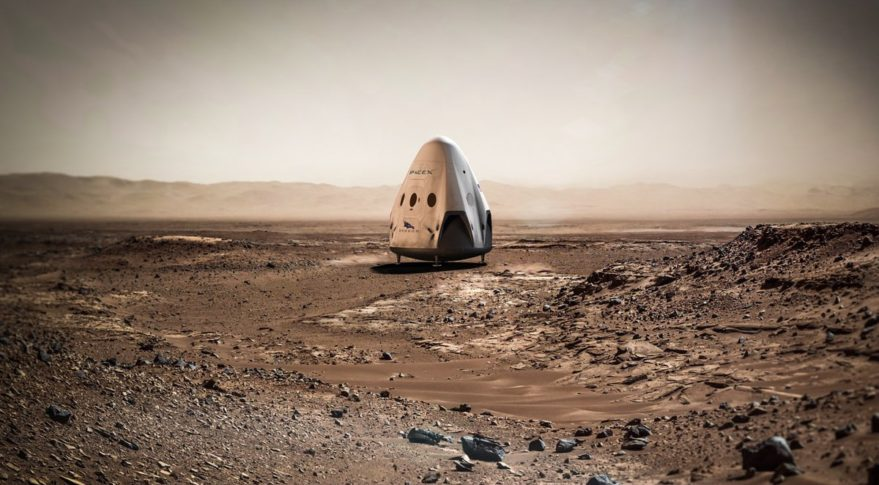 La version martienne du Dragon de Space-X sur Mars (vue d'artiste)