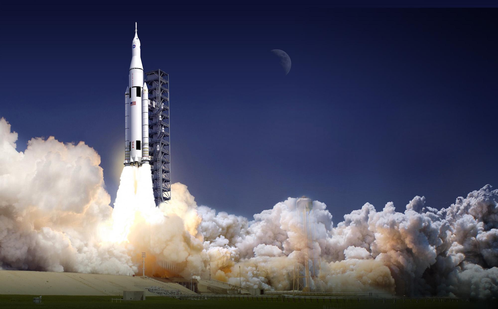 Vue d'artiste du futur lanceur SLS, plus puissant que la Saturn V des vols Apollo