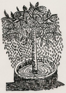 Représentation ancienne de l'arbre fontaine ou Garoé et de son réservoir.