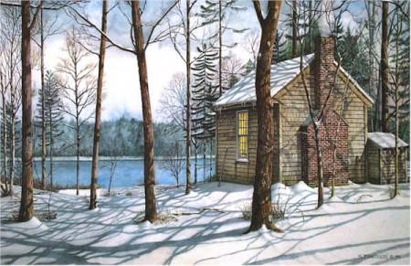 Reconstitution de la cabane de Thoreau au bord de l'étang de Walden. Copyright : blog de Nicholas Santoleri
